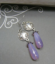 Art Nouveau Style Poppy Flower Earrings Lavender Pink Glass Opal Earrings