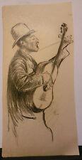 Dessin Original Aquarelle PAUL COUVREUR - Le chanteur à la guitare - PC225