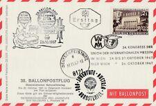Ballonpostkarte mit Bordstempel Jahr 1967 OE-DZB Rarität 38. Flug