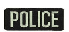 POLICE embroidery patches 2x4 hook on back COLOR SILVER