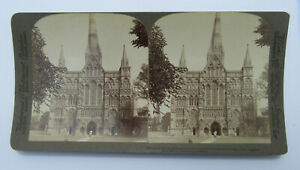 Stereoscope Card/ Stereoview Of Salisbury Cathedral North West Facade, Underwood