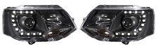 Black DRL Devil Eye LED Projector Headlights For VW Transporter T5 Facelift