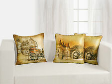 Digital Printed Colorful Reversible Castle Silk Cushion Covers 45x45 Pack of 5