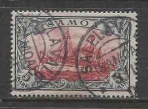 1901 German colonies SAMOA  5 Mark Yacht issue  used,  SALELAVALU ,  $ 720.00