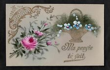 C1916 French plastic card - Flowers in a basket