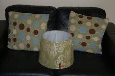4 Pcs:2 Pier One Modern Green Pillows & 2 Matching World Market Green lamp shade