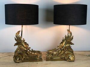 Lampes ( la paire) rocaille en bronze doré de style LOUIS XV