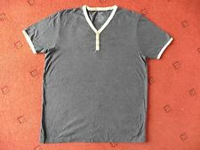 Men's Burton Grey Grandad-style T-Shirt with yellow trim detailing,Size Medium