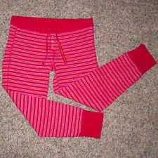 Med VICTORIA'S SECRET Red & Pink Stripe Thermal Pajama Lounge Sleep Pants Pjs