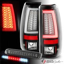 For 03-06 Silverado/Sierra Black Optic-Tube LED Tail Lights + Smoke 3rd Brake
