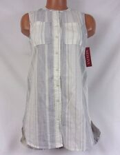 Merona Striped Button Up Sleeveless Tank Cream/Blue Size Large #520780 489C