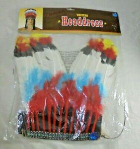 Western Native American Indian Headdress Halloween Theater Costume Men NIP