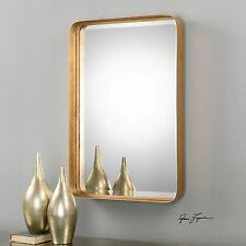 Classic Contemporary Gold Metal Wall Mirror | Vanity Rectangle Deep Frame