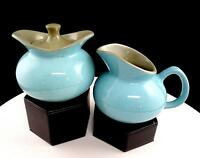 "USA POTTERY BLUE SPECKLED WITH GREY INTERIOR 3 3/4"" CREAMER AND SUGAR BOWL"