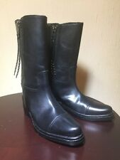 Coach Women's Short Double-Zip Western Boots Black Leather Size 7 New