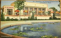 Brookfield, IL 1940s Linen Postcard: Chicago Zoo Restaurant / Zoological Park