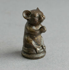 More details for tiny solid bronze miniature church mouse sat praying figure/sculpture mice