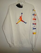 NWT MENS L LG LARGE NIKE AIR JORDAN DNA FLEECE CREW NECK WHITE SWEATSHIRT