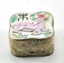 Vintage Chinese Shard Box Tibetan Silver Porcelain Jewelry Mirror Goat Lamb zodi