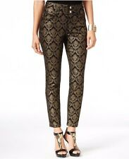 New-Size 8-Thalia Sodi-Womens Ankle Pants-Damask Metallic Gold/Black-Skinny Leg