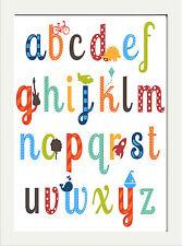 Alphabet Nursery Enfants Chambre à Coucher Amusant Imprimé ABC... Affiche A4 Décor Cadeau