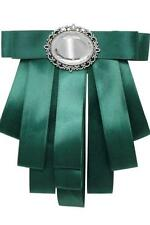 Bow Tie Ribbon Pin Brooch Designer Inspired Green With Stone Detail