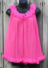 VINTAGE WOMEN'S M HOT PINK RUFFLE LINGERIE CAMISOLE TOP *NEEDS HELP SEE DETAILS*