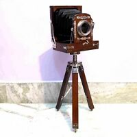 Antique Style Vintage Old Camera With Tripod Stand Model Home Decor