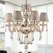 Modern Crystal Ceiling Lighting Chandelier 6 Light Lamp Pendant Fixture Clear SE