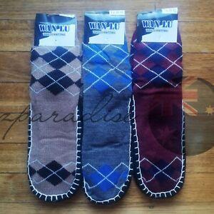 3 PRS MEN Bed Socks Slipper Home Non-slip Moisture Wicking Warm Soft