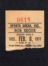 1977 Bob Seger concert ticket stub Sports Arena Beautiful Loser Night Moves