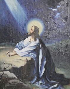 Vintage religious oil painting Jesus Christ