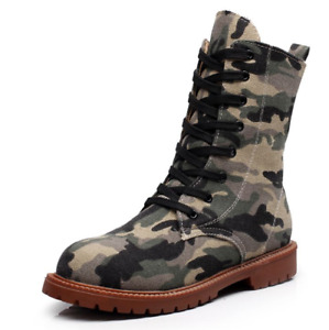 Women Denim Boots Casual High Top Training Lace Up Camouflage Mid Calf Shoe Sz D