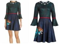 AUTH Ted Baker EMILEEN Houdinii mash up skater dress Navy,Ted Size 0-5