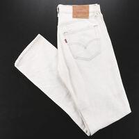 Vintage LEVI'S 501 MADE IN USA Cream Denim Regular Straight Jeans Mens W31 L34
