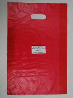 100 Qty. 12 x 3 x 18 Red High-Density Plastic Merchandise Bag w /  Handle