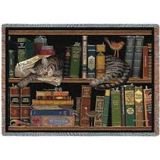 Max In The Stacks ~ Tabby Cat Tapestry Afghan Throw ~ Artist, Charles Wysocki