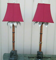 47895 PAIR RAYMOND WAITES PALM TREE BUFFET TABLE LAMPS W/SHADES