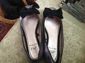 Silver F & F  Glittery/Sequins slip on shoes.....Size 4 Wide Fit.