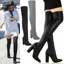 d13579eec7d Womens Over The Knee Thigh Boots High Block Heel Stretch Zip Up Pointed Toe  Size