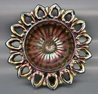Northwood WILD ROSE Amethyst Carnival Glass Bowl w/ Stippled Rays Interior 6041