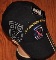 New Black 10th Tenth Mountain Division Army Hat Ball Cap Veteran Climb To Glory