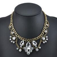 Fashion Charm Jewelry Pendant Crystal Choker Chunky Statement Bib Chain Necklace