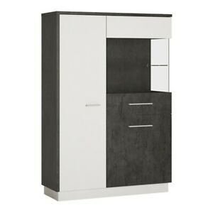 Low Display Cabinet (RH) in Slate Grey and Alpine White W103 x H151 x D38 cm