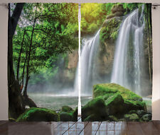 Green Curtains Waterfall Nature Exotic Window Drapes 2 Panel Set 108x84 Inches