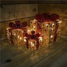 PREMIER DECORATIONS SET OF 3 GOLD PARCELS WITH RED BOW AND FAIRY LIGHTS
