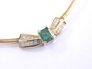 Verde Natural Colombia Esmeralda & Diamante Collar Oro Amarillo 1.65Ct 43.2cm