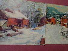 Grif Teller, Barn, Mill, Snow, Logs, Man, Trees, Farm, 2 Large Prints Vintage