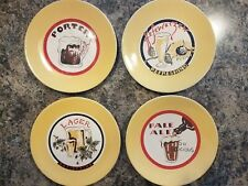 "Set of 4 Pottery Barn Beer Plates Appetizer Snack Salad Etc. 8 1/4""  Man Cave"