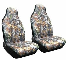 Set of 2 Camo Forest Front Seat Covers High Back Bucket Camouflage HB1